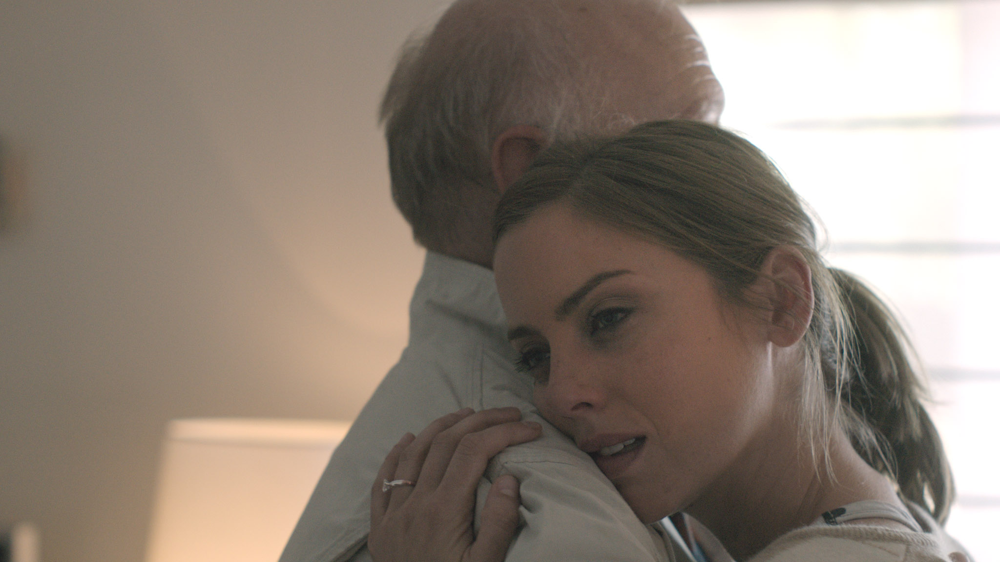 Alice & Joel embrace. Youth, a short film coming in 2016. Starring Jessica Stroup and George Maguire, directed by Brett Marty. A sci-fi film about growing old in a world of perpetual youth.